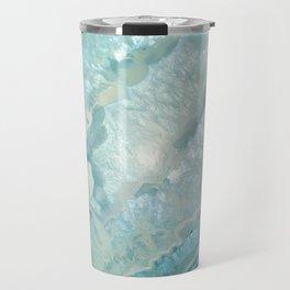 """""""Aquamarine Pastel and Teal Agate Crystal"""" Travel Mug"""