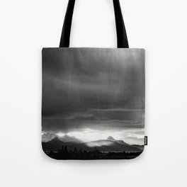 Sunrise over Kachemak Bay, Alaska - Black and White Tote Bag