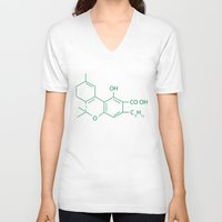 cannabis V-neck T-shirts featuring Cannabis Chemistry: THC by WeedPornDaily
