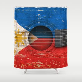 Old Vintage Acoustic Guitar with Filipino Flag Shower Curtain
