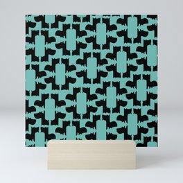 Scottie Dog Hex Pattern in Green Mini Art Print