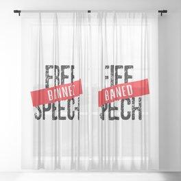 Free Speech Banned Sheer Curtain
