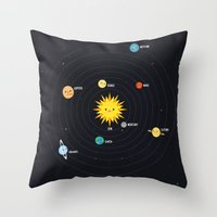 solar system Throw Pillows featuring Solar System by Sara Showalter