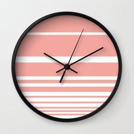 Scandi Pastel Coral Stripes Wall Clock