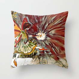 Red and Orange Fairy Girl watercolor by CheyAnne Sexton Throw Pillow