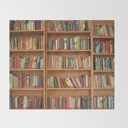Bookshelf Books Library Bookworm Reading Throw Blanket