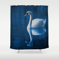 swan Shower Curtains featuring Swan by Spooky Dooky