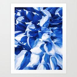 Botanic leafage - cobalt Art Print