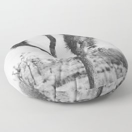Joshua Tree in Black and White Floor Pillow
