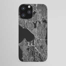Seattle Black Map iPhone Case