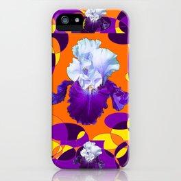 #2Colorful Modern Purple White Iris Orange Yellow Black Design iPhone Case