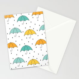 cute cartoon autumn pattern with umbrellas and rain Stationery Cards