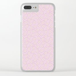 Small Flowers in Cream on Pink Clear iPhone Case