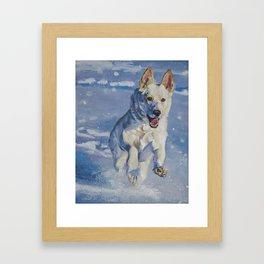 white German Shepherd art runnng in snow from an original painting by L.A.Shepard Framed Art Print