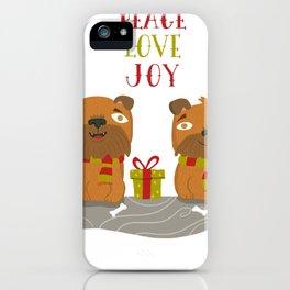 Brussels Griffon Peace , Love, Joy iPhone Case