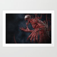 carnage Art Prints featuring Carnage by K-O-S