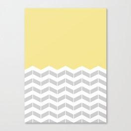 Grey, White & Yellow Half Chevron Canvas Print