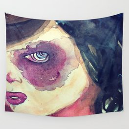 purple eyed girl Wall Tapestry