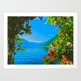 Flower-framed Lake Como Art Print