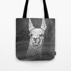 Black White Vintage Funny Llama Animal Art Drawing Tote Bag