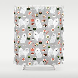 Japanese Spitz sushi kawaii dog portrait custom pet lover pattern by pet friendly Shower Curtain