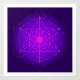 Metatron | Cube | Secret Geometry | Platonic | Matrix | Protects children Art Print