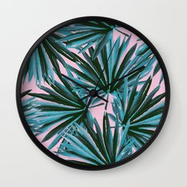 Tropical Palm Leaves in Botanical Green + Pink Wall Clock