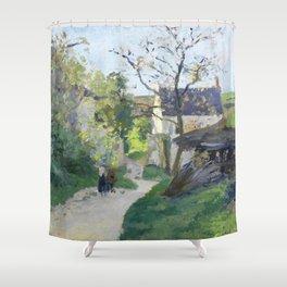 """Camille Pissarro """"Le grand noyer à l'Hermitage"""" Shower Curtain"""
