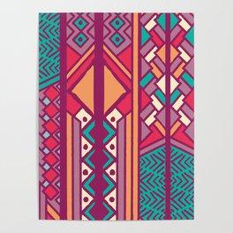 Tribal ethnic geometric pattern 001 Poster