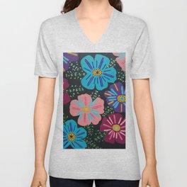 Bohemian Floral Print Too Unisex V-Neck
