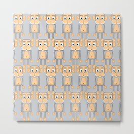Super cute animals - Cheeky Grey Silver Monkey Metal Print