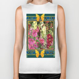 PINK HOLLYHOCKS & YELLOW  BUTTERFLIES TEAL Biker Tank