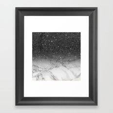 Stylish faux black glitter ombre white marble pattern Framed Art Print