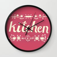 kitchen Wall Clocks featuring Kitchen by Leah Doguet