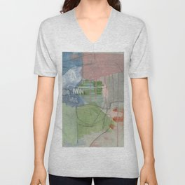 From Memory II - abstract painting blue, aegean teal, orange,  Unisex V-Neck