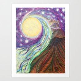 Moonlit Mountains Art Print