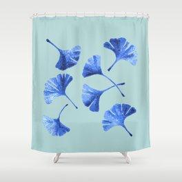 Blue Gihgko Leaves Shower Curtain