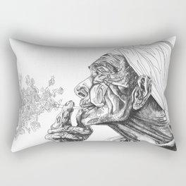 Geometric Graphic Black and White Smoker Drawing Rectangular Pillow