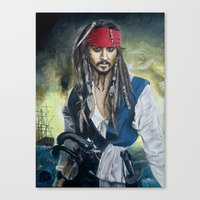 jack sparrow Canvas Prints featuring Captain Jack Sparrow by zlicka