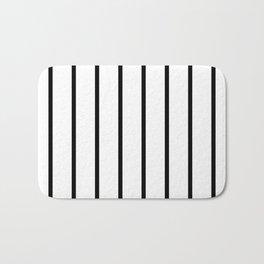 Vertical Lines (Black & White Pattern) Bath Mat