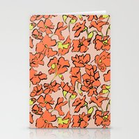 Stationery Cards featuring Red Floral by leah reena goren