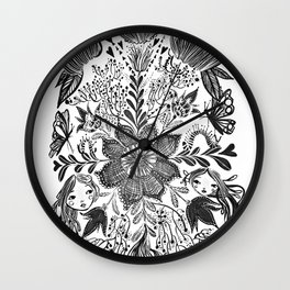 Me and you, day and night in our messy garden Wall Clock