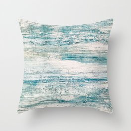 Sea Foam Blue Acrylic Textured Painting Throw Pillow
