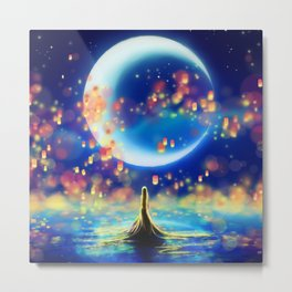 STARRY NIGHT MERMAID Metal Print