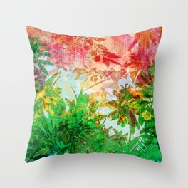 Sunset Jungle Tropical Palm Leaves Throw Pillow