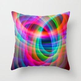 Spirograph rainbow light painting Throw Pillow