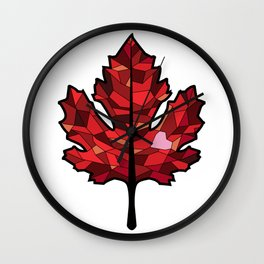 A Maple Leaf with Heart Wall Clock