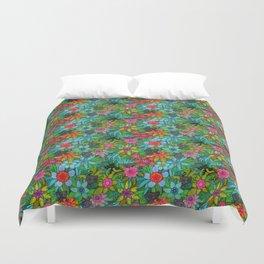 Pattern kitties and flowers Duvet Cover