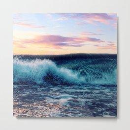 Waves Crashing At Sunset Metal Print