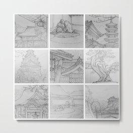Sakura Japan sketches by David A Sutton. sketchbookexplorer.com Metal Print